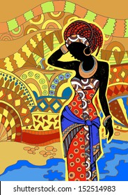 African Landscape.Southern landscape. Hand drawn illustration  Beautiful black woman.African woman