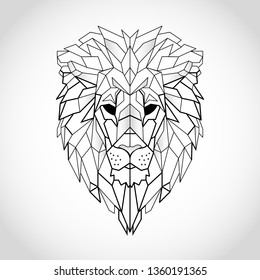 African lion head icon. Abstract triangular style. Contour for tattoo, logo, emblem and design element. Hand drawn sketch of a lion