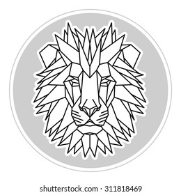 African lion head icon. Abstract triangular style