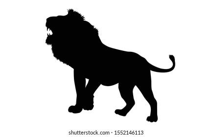 African lion. Lion silhouette. Vector illustration.
