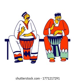 African Male Characters in National Clothes Playing Traditional Jembe Drums for Folk Festival or Kwanzaa Holiday Celebration. Culture and Music of Africa, Concert. Linear People Vector Illustration