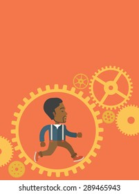 An african man with a beard is running inside the gear. Business in action concept. A Contemporary style with pastel palette, orange tinted background. Vector flat design illustration. Vertical layout
