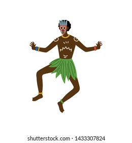 African Man Dancing, Male Aboriginal with Painted Face Dressed in Bright Traditional Ethnic Clothing Vector Illustration
