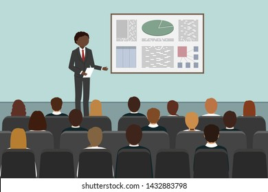 African man giving business presentation in conference room. Vector illustration.