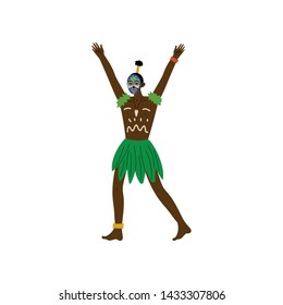 African Man, Male Aboriginal Dressed in Bright Traditional Tribal Clothing, with Painted Face and Ethnic Jewelry Vector Illustration