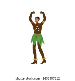 African Man, Male Aboriginal Dressed in Bright Traditional Ethnic Clothing and Painted Face Vector Illustration