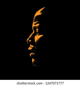 African Man portrait silhouette in contrast backlight. Vector.