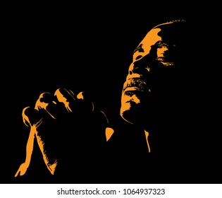 African Man is praying. Silhouette in backlight. Vector. Illustration.