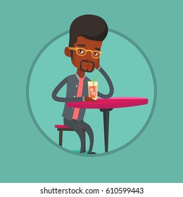 African man sitting in bar and drinking cocktail. Sad man sitting in bar with cocktail on the table. Man drinking cocktail in bar. Vector flat design illustration in the circle isolated on background.