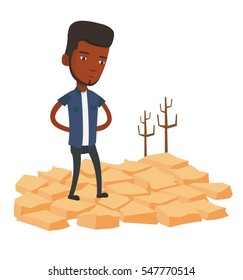 African man standing in the desert. Frustrated man standing on cracked earth in the desert. Concept of climate change and global warming. Vector flat design illustration isolated on white background.