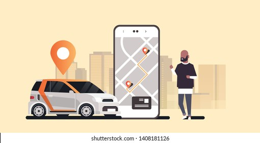 african man using mobile app ordering automobile vehicle with location mark rent car sharing concept transportation carsharing service modern cityscape background horizontal