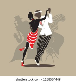 African man and woman dance tango. Saxophonist and accordion players behind them. Red, black, brown and white colors. Negative space design. Vector illustration and photo image available.