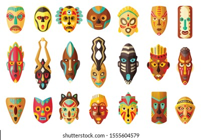 African mask cartoon set icon.tribal African mask cartoon vector illustration on white background .Vector illustration set icon face voodoo.