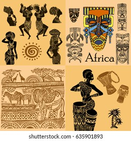 African mask and design set. Silhouette of an African woman.