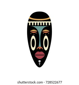 African Mask Icon. Flat vector illustration in bright colors.