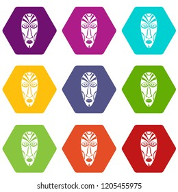 African mask icons 9 set coloful isolated on white for web