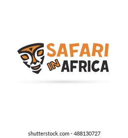 African mask logo template. Tribal mask vector illustration. Africa and Safari logo elements and icon.