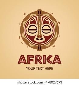 African mask logo template. Vector illustration.