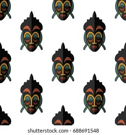 African mask seamless pattern vector illustration background. Flat icon.