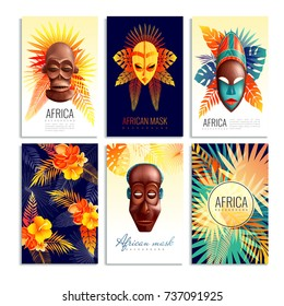 African masks cards collection of six vertical compositions with gradient leaf shapes and decorative text captions vector illustration