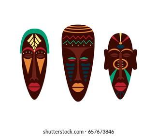 African masks. Flat Vector Illustration.