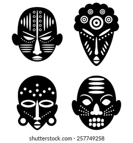 African Masks Isolated on White. Vector icons for tribal designs