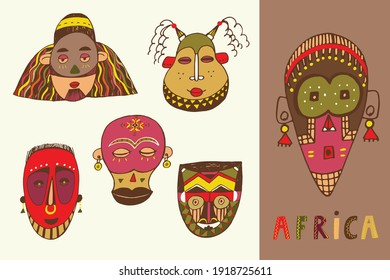 African masks vector illustrations set