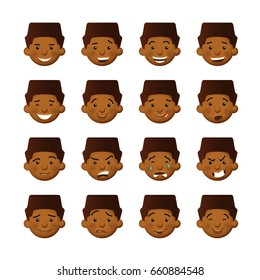 African men with rosy cheeks. Vector avatars and emoticons set.