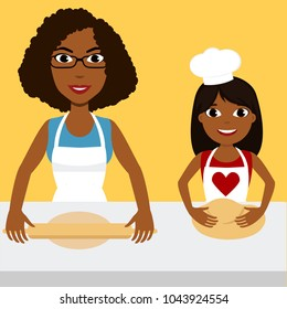 African mother with a daughter. Mom teaches a girl to bake. Kid with mommy cooking. Isolated vector illustration of full body detailed characters in a flat style. Eps 8