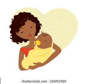 African mother holding baby in front of a heart.
