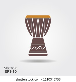 African music instrument icon. Vector illustration. djembe, dunumba drum tam tam