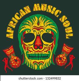 african music skull soul vector art