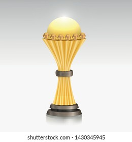 African Nations Cup 2019 - Gold cup award isolated on white background