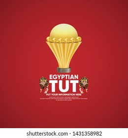 African Nations Cup 2019 with soccer player Cartoon TUT with head Tutankhamun on red background