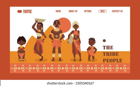 African native family tribe people, vector illustration. Travel agency website design, exotic tours to Africa. Group of ethnic tribe characters in traditional clothes, cartoon. Man, woman and children