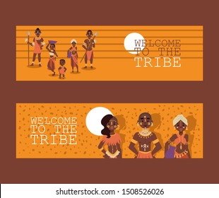 African native family tribe people, vector illustration. Banners for travel agency website design, exotic tours to Africa, brochure header. Group of ethnic tribe characters in traditional clothes
