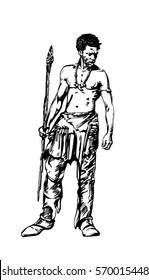 African native, male warrior. Hand drawn illustration.