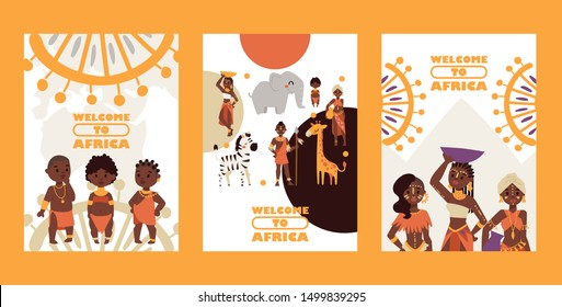 African native tribe people, vector illustration. Set of banners, travel postcards welcome to Africa. Cartoon characters, various women and children in traditional clothes, exotic animals, ornament