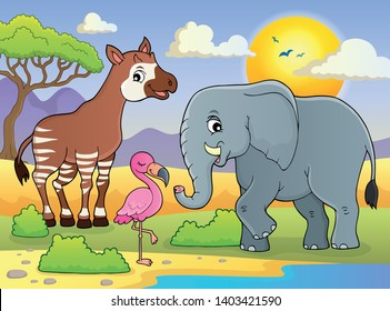 African nature theme image - eps10 vector illustration.