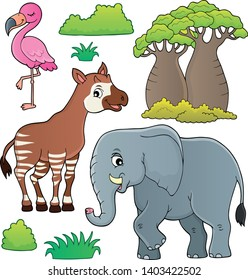 African nature theme set - eps10 vector illustration.