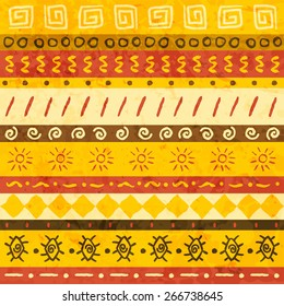 African ornament seamless with handdraw elements. Vector illustration