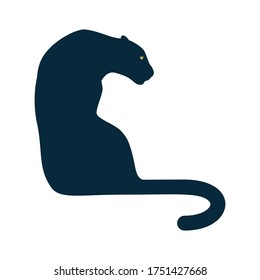 African panther silhouette in a sitting pose isolated on white background. Vector illustration.