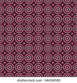 African pattern pink and black circles