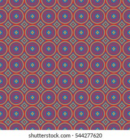 African pattern red and orange circles