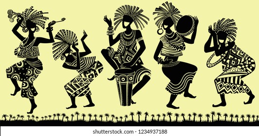 African people are dancing