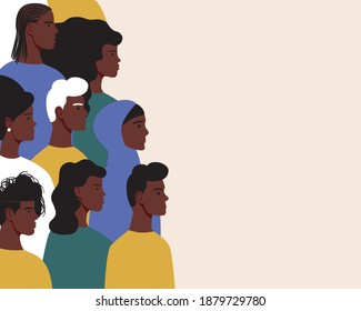 African people isolated, copy space template. Flat vector stock illustration. Men and women with black skin. Black empowerment concept, achievements african. Afro people, place for text