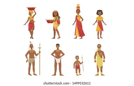 African People Set, Aboriginal Men, Women and Kids in Traditional Tribal Clothing Vector Illustration