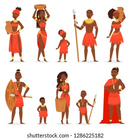 African people vector black man beautiful woman character in traditional tribal clothing dress in Africa illustration ethnicity set of kids girl and boy in ethnic tribe costume