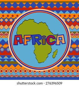 African postcard with a map