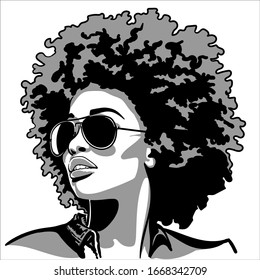 African pretty woman with sunglasses with afro hair style portrait. Silhouette in contrast backlight. Vector. Illustration.